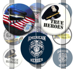 Police Heroes 1 INCH Circle Digital Bottle Cap Image Collage Sheet For Bottle Cap Jewelry, Key Chains, Zipper Pulls, Card Making Embellishments, Scrapbook Embellishments, and Hairbows