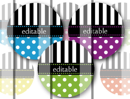Stripes and Polka Dots Editable 1 INCH Circle Digital Bottle Cap Image Collage Sheet For Bottle Cap Jewelry, Key Chains, Zipper Pulls, Card Making Embellishments, Scrapbook Embellishments, and Hairbows