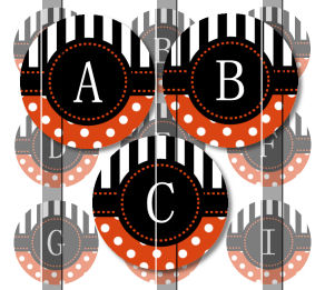 Orange Stripes and Polka Dots Alphabet 1 Initials Letters 1 INCH Circle Digital Bottle Cap Image Collage Sheet For Bottle Cap Jewelry, Key Chains, Zipper Pulls, Card Making Embellishments, Scrapbook Embellishments, and Hairbows