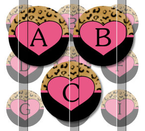 Pre Cut One Inch Bottle Cap Images LEOPARD HEARTS FREE SHIP