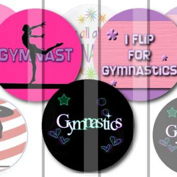 Gymnastics 1 INCH Circle Digital Bottle Cap Image Collage Sheet For Bottle Cap Jewelry, Key Chains, Zipper Pulls, Card Making Embellishments, Scrapbook Embellishments, and Hairbows